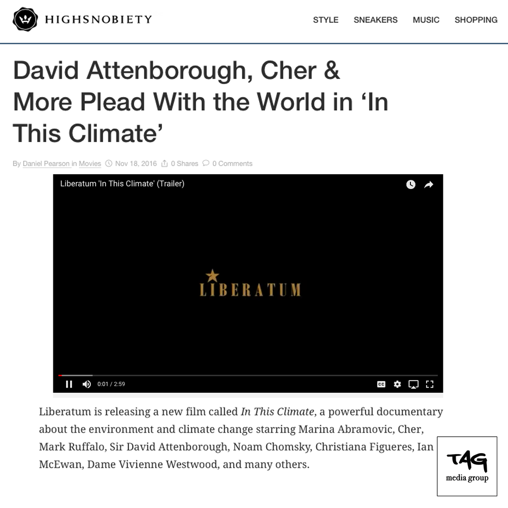 """In This Climate"" Featuring Sir David Attenborough and Cher on Highsnobiety"