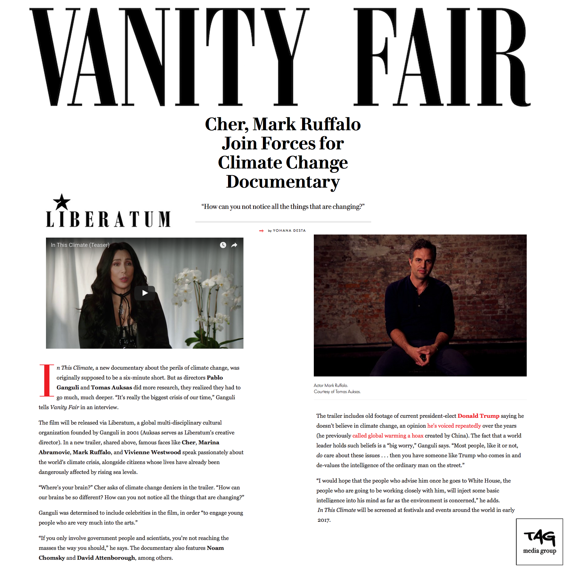 """In The Climate"" featuring Mark Ruffalo and Cher on Vanity Fair"